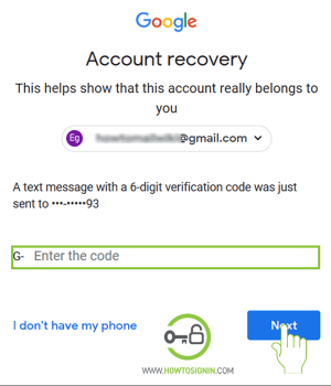 Gmail password recover mobiile