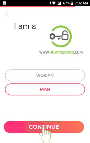 select gender for tinder sign up
