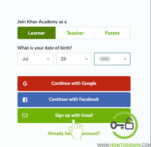 khanacademy learner sign up