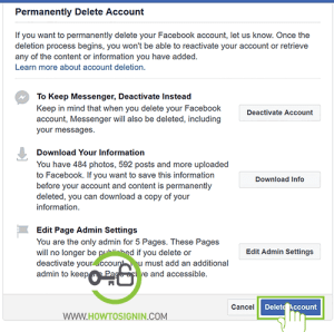 download information and delete facebook account permanently