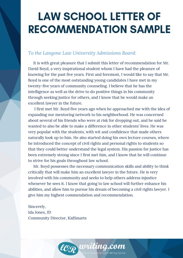 Reference Letter For Law School From Employer - Find Your