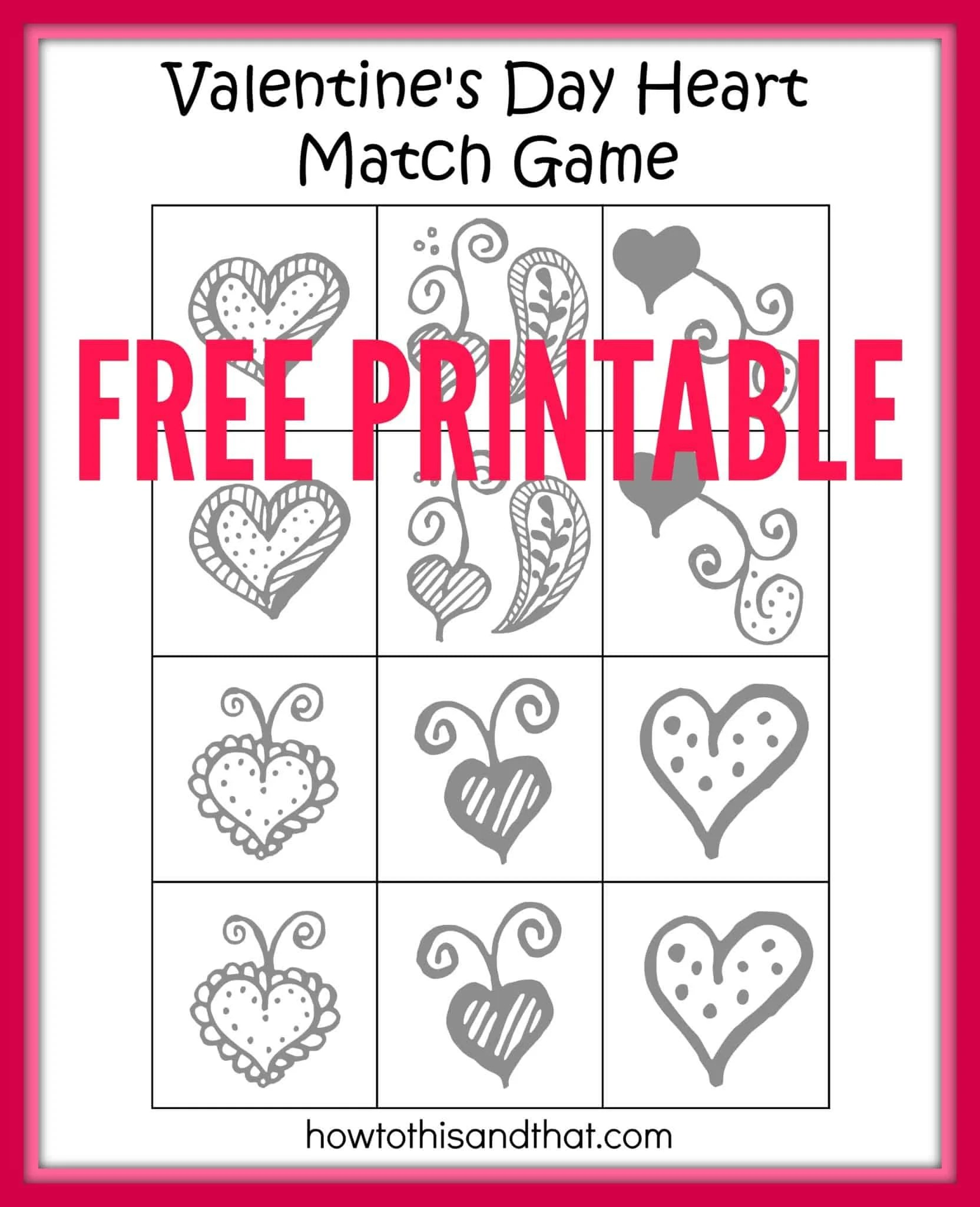Free Printable Valentine S Day Heart Matching Game