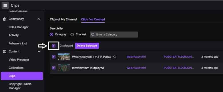 How to mass delete clips on Twitch