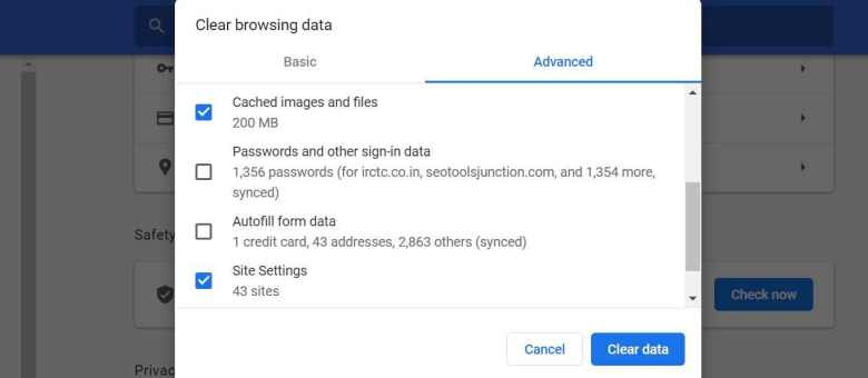 How to clear chrome browsing data and cookies