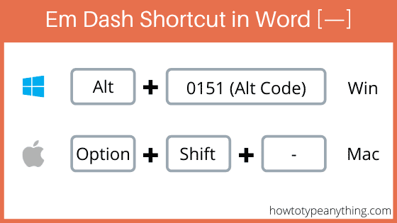 Shortcut to type em dash symbol in Word
