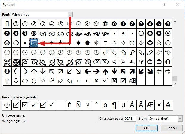 Check box symbol from the symbol's dialog box