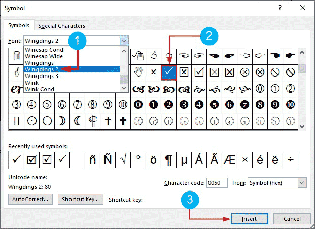 How to insert check mark symbol in Word