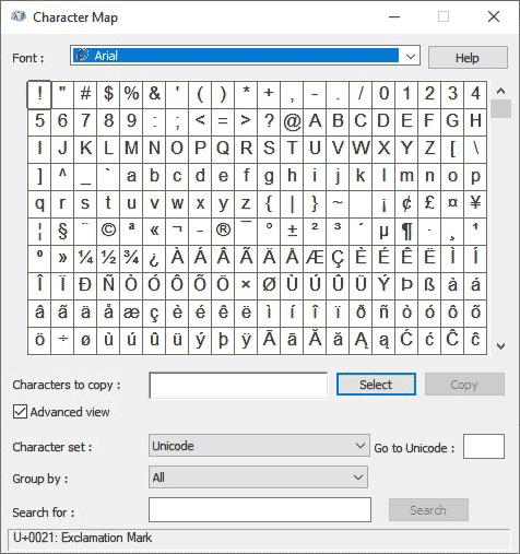 Character Map dialog box