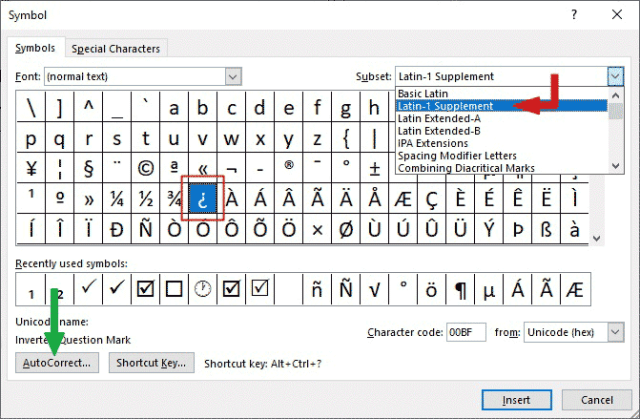 how to type upside down question mark symbol in Word