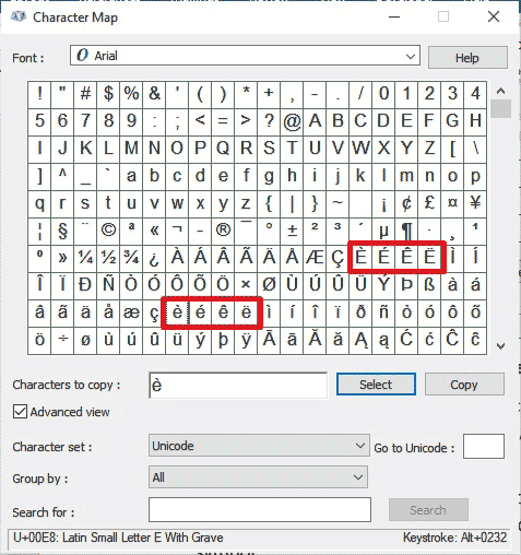 Copy and Paste e with accents from the Character Map dialog box for Windows