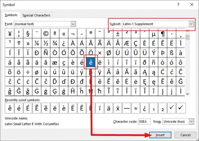 Insert e caret in Excel