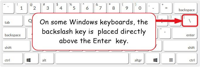 Backslash key on Windows keyboard