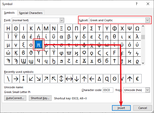 slect the pi symbol to insert into your Word or Excel document