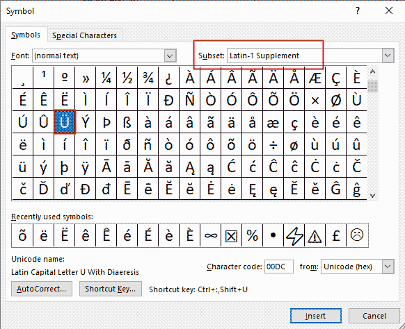 how to insert u with dots (or u umlaut) in Word
