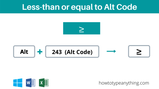 Type Less than or equal to alt code