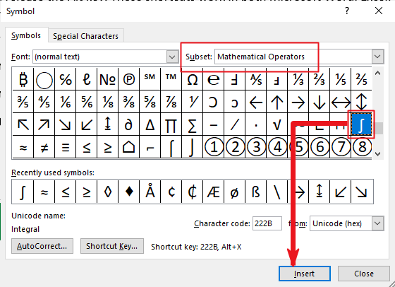 insert Integral symbol in Word or Excel or PowerPoint