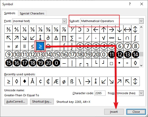 insert Greater than or equal to in Word or Excel or PowerPoint