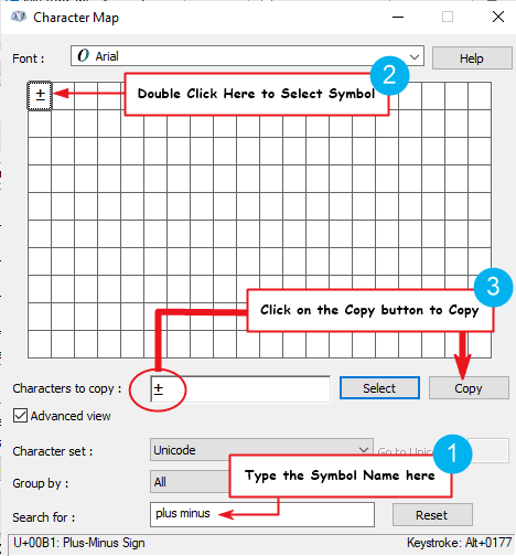 copy plus or minus symbol from the Character Map in Windows