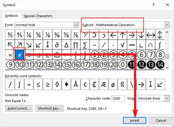 insert Not equal symbol in word or excel