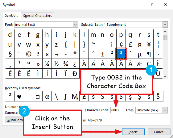 Insert Cube symbol in Word or Excel