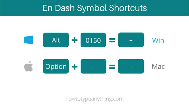 En Dash symbol shortcuts