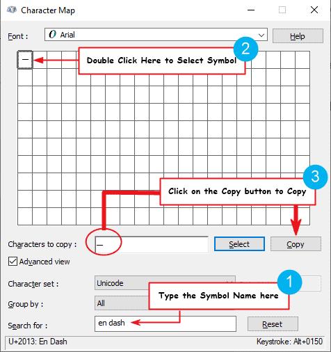 copy and paste en dash symbol