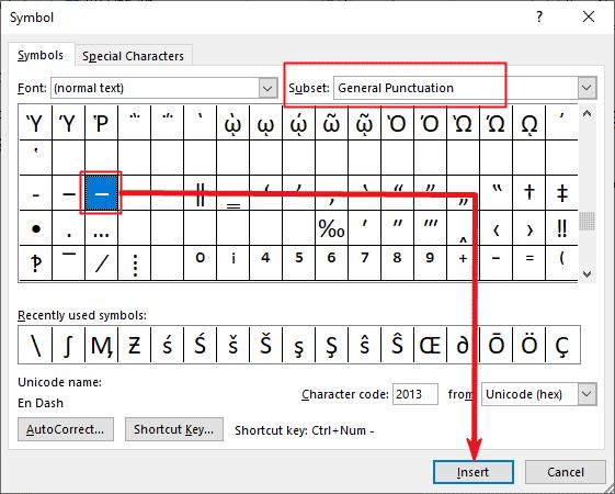 Inserting en dash symbol in Word