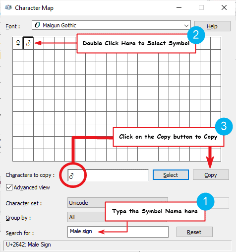 copy and paste male symbol on Windows