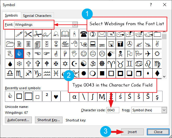 Inserting the thumbs up symbol in Word