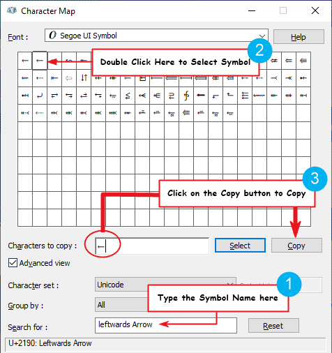How to insert the lef pointing arrow symbol in Word or Excel