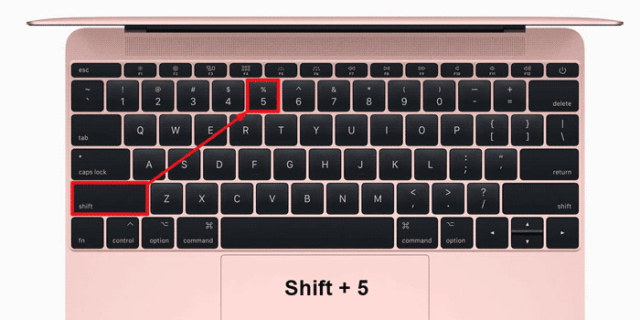 Showing where the Percent symbol key is located on the keyboard