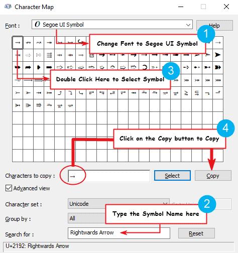 copy and paste right arrow symbol