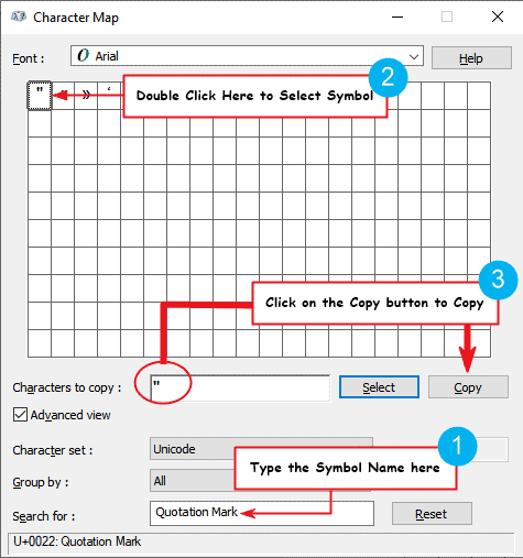 How to copy and paste inch symbol