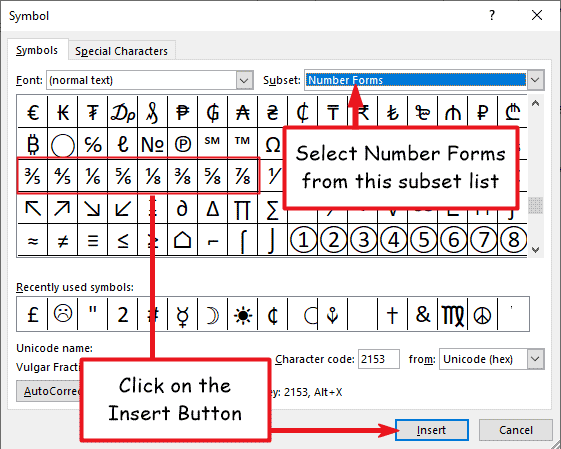 Insert fraction symbol in Word