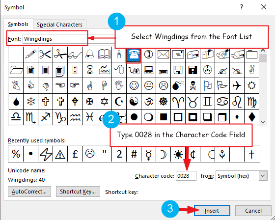 Insert phone symbol in Word