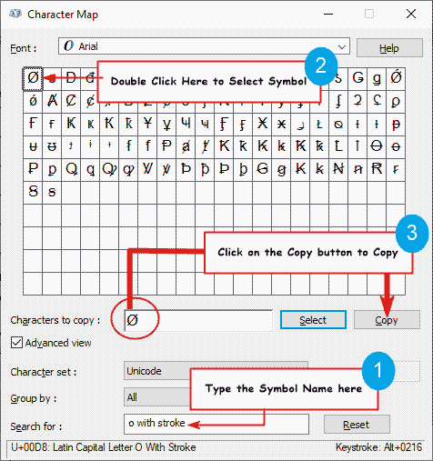 copy Empty Set symbol on Character Map
