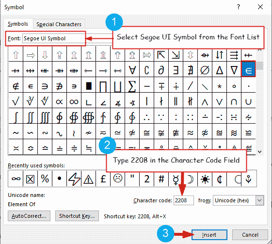 Insert Element of symbol in Word