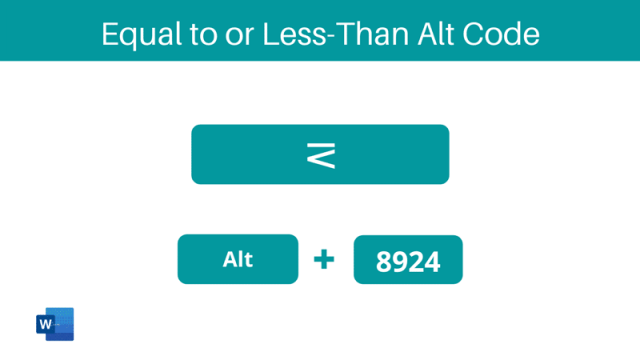 Equal to or less-than Alt Code