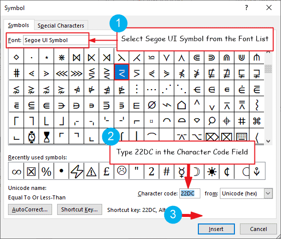 Equal to or less than sign in Word