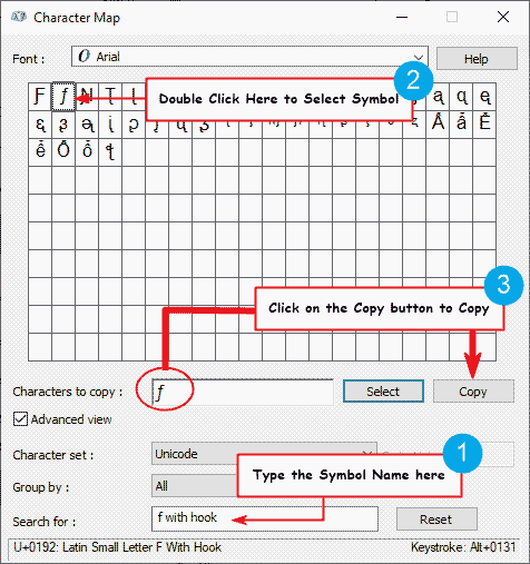 Copy function symbol on the Character Map