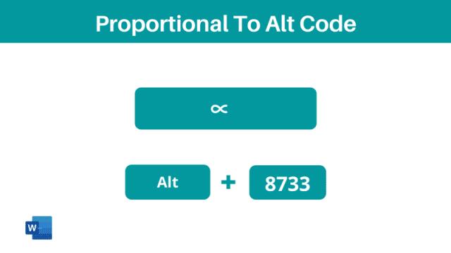 Proportional To Symbol Alt Code shortcut