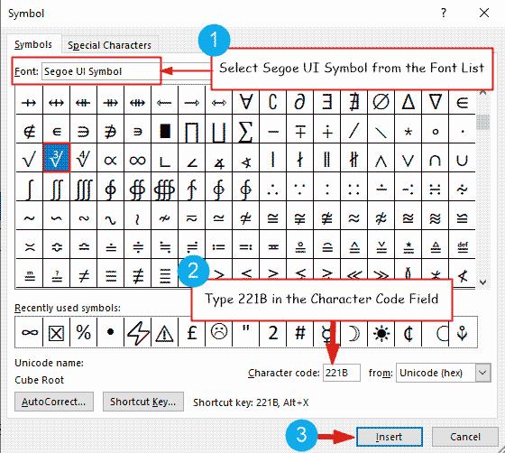 insert cube root symbol in Word