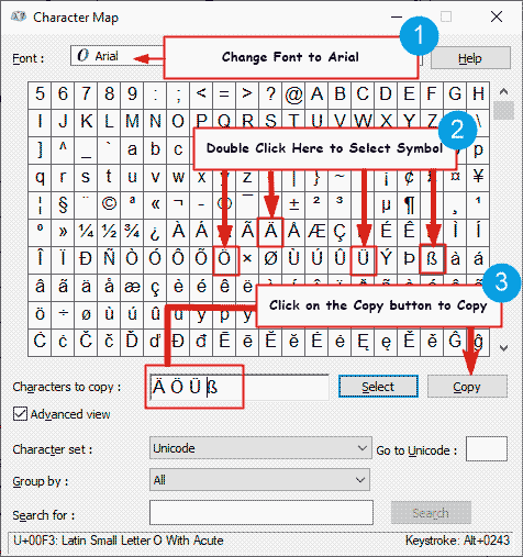 how to copy and paste special German letters on the Character Map on Windows
