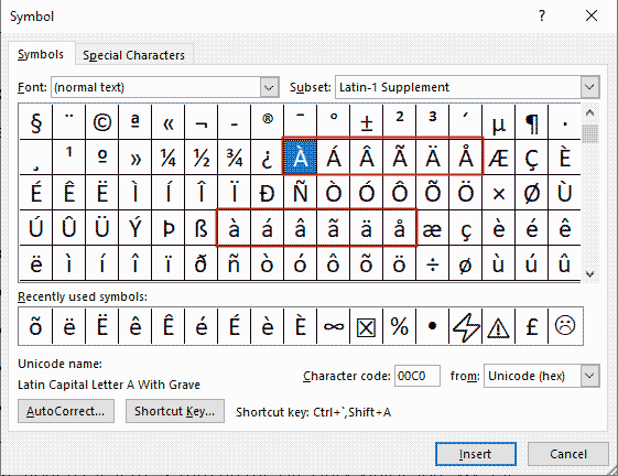 Inserting a with accents in MS Office