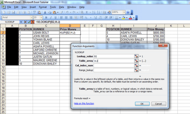 "A screenshot showing the ""function arguments"" window, the lookup value populated with cell B2 (our first vlookup value) and the data for the table array – columns H to J."