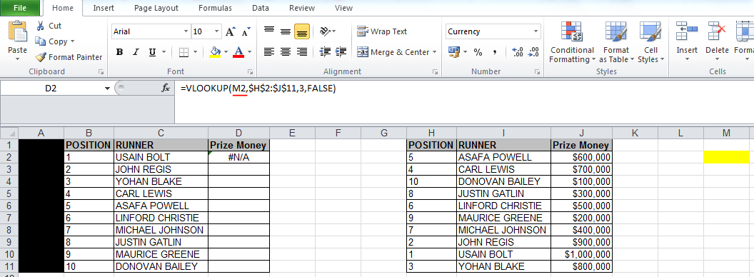 vlookup #N/A error because wrong'lookup value' is used in the formula