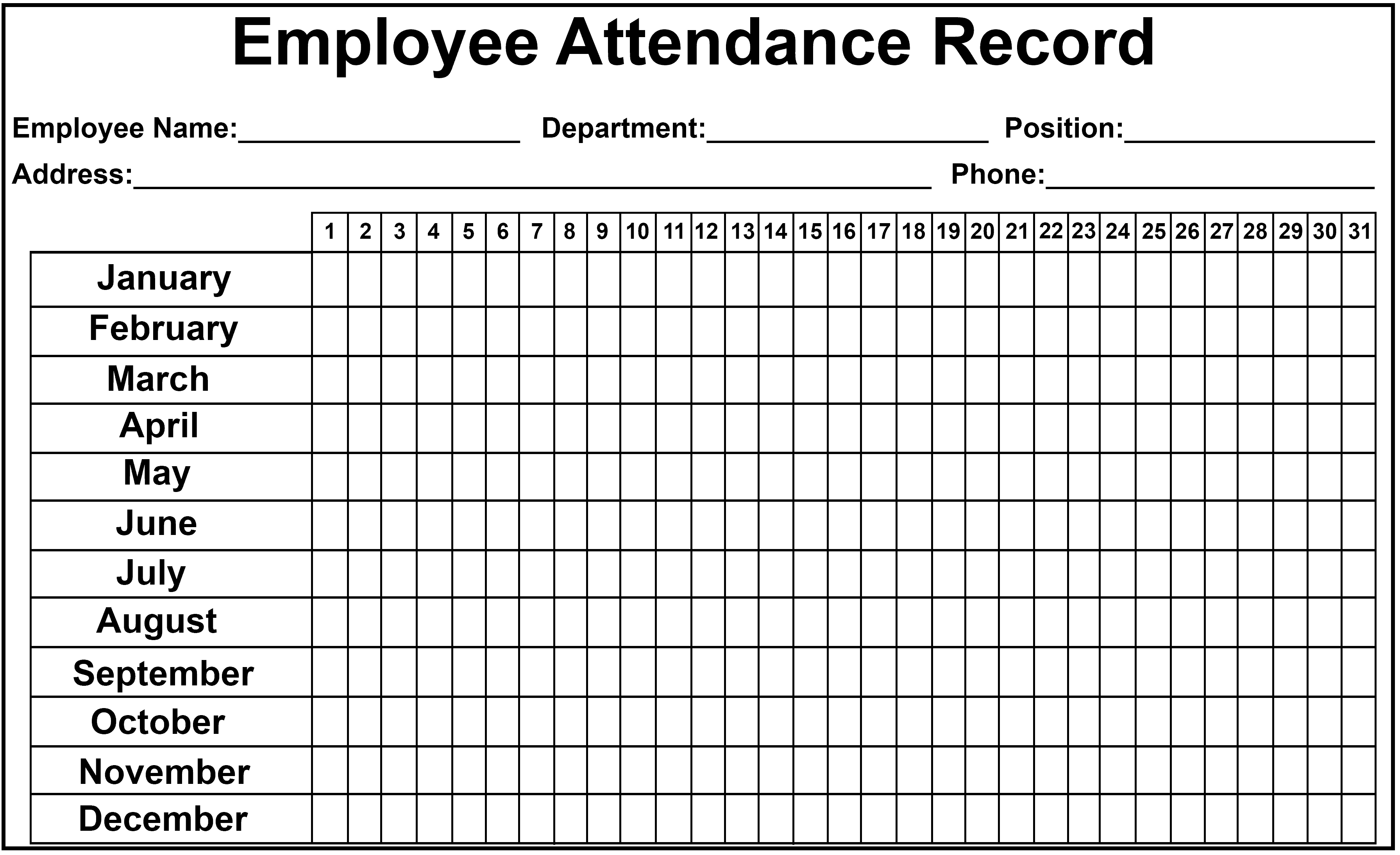 Daily Monthly Employee Attendance Sheet Template Free