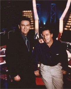 Michael Whyte (right) with host Eddie McGuire on the set of 'Who Wants To Be A Millionaire?'