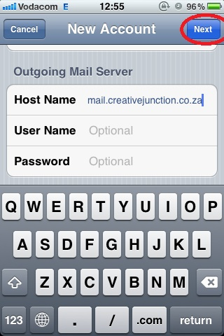 Outgoing Mail Server Settings, Tap Next When Completed