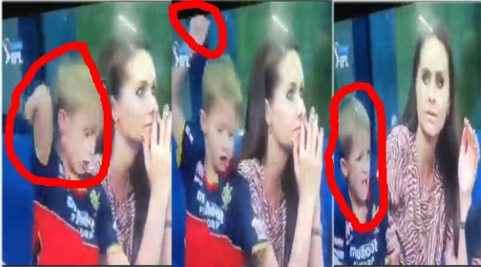 MI vs RCB AB de villiers son reaction after his father Catch out in IPL match